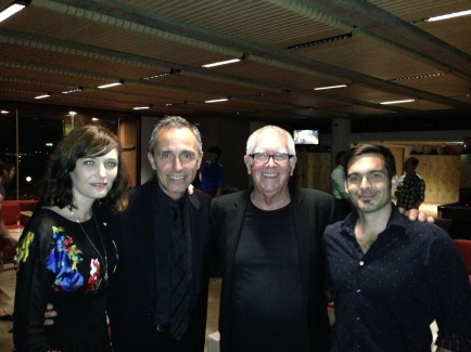 """Sarah Blasko and her bass section of """"Daves"""": orchestra bassists David Stratton and David Ellis and Sarah's regular bassist Dave Symes, after her gig at the Sydney Opera House on Monday 18th February 2013."""